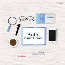 business concept office desk top view build your brand office desk top view build your brand word flat design style