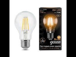 Светодиодная <b>лампа Gauss LED Filament</b> A60 E27 8W 2700К ...