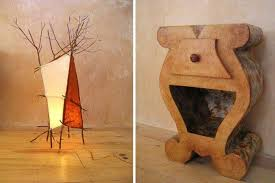 a willow branch lamp and a recycled cardboard side table by mesdames carton cardboard furniture for sale