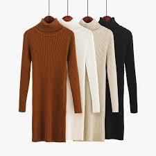 Fashion Autumn <b>Sweater Dress</b> Turtleneck Elegant Women Knit ...
