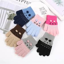1 pair of <b>cute cartoon</b> cats <b>baby</b> kids <b>winter</b> knit thickening gloves ...
