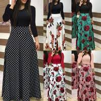 <b>Autumn Winter Women</b> Fashion Long Sleeve Dress <b>Floral Printed</b> ...