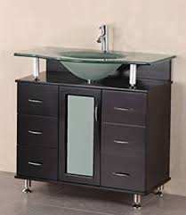 element contemporary bathroom vanity set: design element huntington single drop in sink vanity set with integrated tempered glass countertop