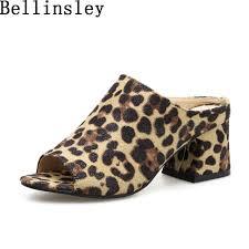 Bellinsley Fashion Leopard Sandals <b>Shoes</b> Women Peep Toe ...