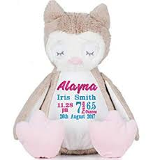 <b>Personalised Any Name</b> Embroidered onto mumbles soft owl with ...