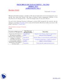 principles of management management assignment solution the document