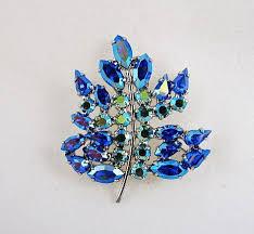B. David <b>Designer Blue Rhinestone</b> Pin & Earrings Set in Box