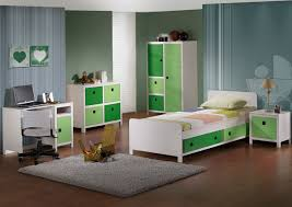 white and green solid wood furniture gray fur rug brown wooden laminate flooring brown rattan toys blue kids furniture wall