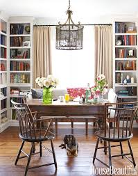 floor to ceiling bookcases give depth to the dining room office library charming dining room office