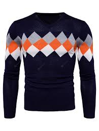 Trendy Checked Joint Long Sleeves Sweater for Men Sale, Price ...