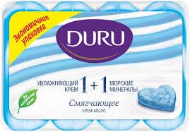 Мыло туалетное <b>Duru</b> 1+1 <b>крем</b> и морские минералы, 4×90 г ...