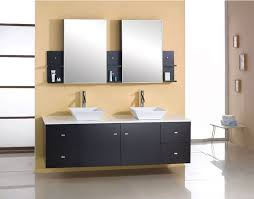 bathroom vanity 60 inch: wall mounted double sink  inch bathroom vanity under two framed mirrors and shelves