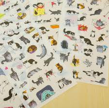 <b>6 pcs/lot cute cat</b> PVC paper sticker diy planner decorative sticker for ...