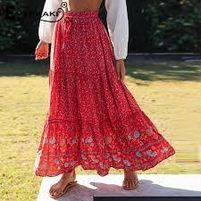 <b>Everkaki Long</b> Red Boho Print Elastic Waist <b>Skirt</b> – A Lark And A Lady