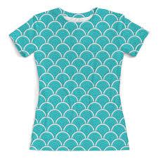 <b>Printio футболка с полной</b> запечаткой женская голубой узор ...