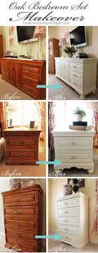 emily bedroom set light oak: oak bedroom set painted in diy chalk paint love the difference adding feet makes
