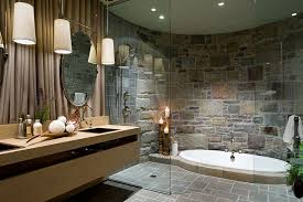 image bathtub decor: view in gallery opulent bathroom with a sunken jacuzzi and a curved stone wall design lisa stevens