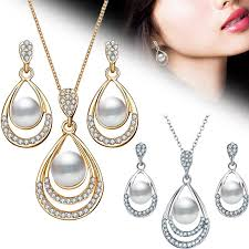 <b>2Pcs</b>/<b>Set Fashion Jewelry Set</b> Drop Necklace Earrings Bridal ...