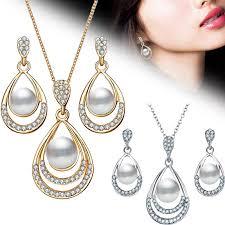 <b>2Pcs</b>/<b>Set Fashion Jewelry Set</b> Drop Necklace Earrings Bridal ...
