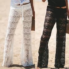 <b>Summer Women Ladies Sheer</b> Floral Lace Pants Beach Bikini ...