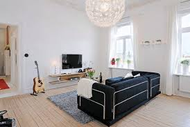 interior chic decor with black sofa bed and grey furry carpet on wide brown wooden chic design dorm room ideas
