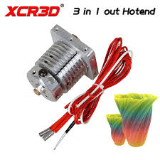 <b>XCR3D Extruder 3D</b> Printer Parts 3 in 1 out print head Colour ...