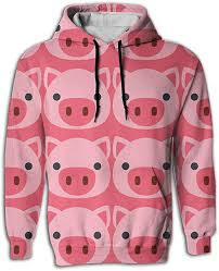 Cute Pink Pig Hoodie <b>Men's</b> Sweatshirt <b>Autumn Winter Plus</b> Size ...