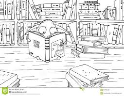 coloring page for children little monster in library stock coloring page for children little monster in library