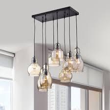 mariana 8 light cognac glass cluster pendant in antique black finish chandelier pendant lighting