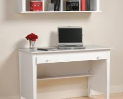 simple minimalist home office furniture design with white wooden desk under wall mounted bookshelf and file bookshelf file storage wall