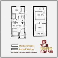Floor plans  Tiny house and Floors on PinterestThe Weller   Four Lights Tiny House Company