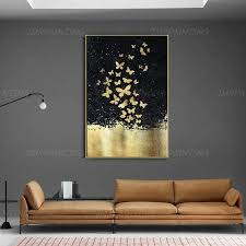 Gold Leaf and Silver leaf set of 2 <b>wall</b> art Abstract <b>butterfly</b> Paintings ...