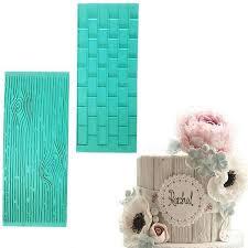 Buy <b>2pcs</b>/set <b>Texture Silicone</b> Mold Of Tree Bark + Brick Wall ...