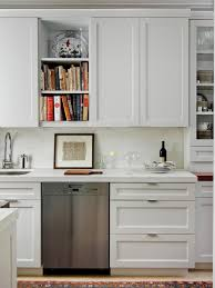 in style kitchen cabinets: contemporary white kitchen with shaker cabinets to refine a kitchen