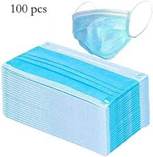 <b>100 PCS</b> Disposable <b>3</b>-Ply Safety Face Mask for Personal Health ...