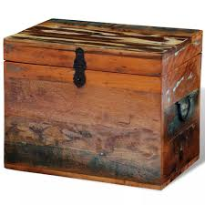 vidaXL Trunk <b>Storage Box Reclaimed</b> Wood Storage Vintage Style ...