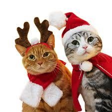 Newly <b>Pet Dog Cat</b> Scarf Cap <b>Cloak</b> Headband Set Gifts <b>Christmas</b> ...
