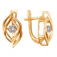 <b>Золотые серьги с фианитами</b> - купить сережки из золота с ...