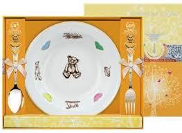 082Ф05 <b>Серебряный детский набор</b> «<b>Мишка</b>» с золочением в ...