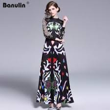 <b>Banulin 2019</b> Runway Long Maxi Dress Women <b>High Quality</b> ...