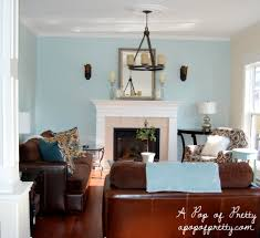 blue and brown living family room blue walls brown furniture