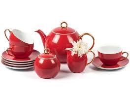 Чайный сервиз 15 предметов, красный rainbow or Monalisa La ...