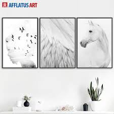 <b>Horse Feather Girl Landscape</b> Wall Art Canvas Painting Nordic ...