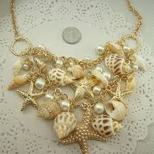 Sweet Chunky Gold Tone Sea <b>Shell Starfish Pearl</b> Sweater Necklace