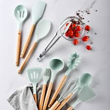 <b>11PCS Silicone</b> Kitchenware <b>Cooking</b> Tool Set Heat Resistant ...