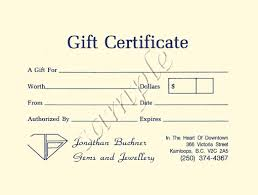 gift certificates from jonathan buchner gems jewellery