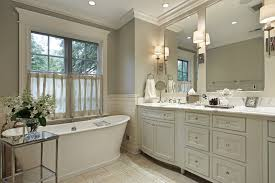 ideas bathroom tile color cream neutral: white bath with matching cabinets and marble counter