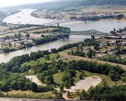 Photograph The confluence of the Kanawha and Ohio Rivers is at Point Pleasant  W