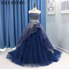 Sparkle <b>Navy Blue Quinceanera</b> Dresses for 15 years Strapless ...