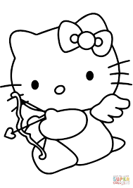 Small Picture Hello Kitty Valentines Day Coloring Pages Online For Kid 438